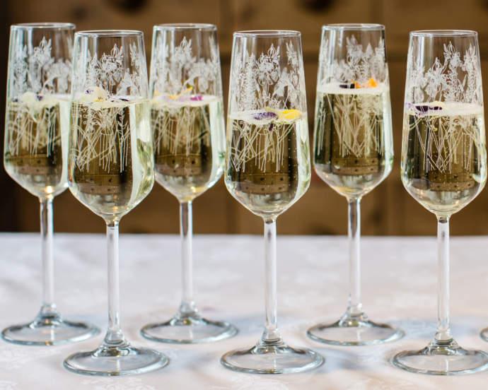 Emma Britton Floral Glass Prosecco Flutes