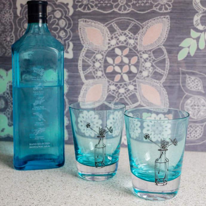Emma Britton Decorative Glass Designer Crystal Turquoise Tumblers - Tulip Design