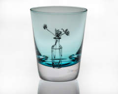 Emma Britton Decorative Glass Designer - Handmade coloured crystal tumblers - Tulips Design