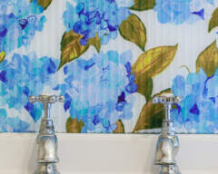 Blue Hydrangeas with Flutes bathroom splashback