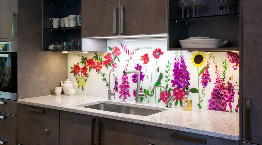Bespoke floral glass splashback Hampstead Heath featuring sunflowers, foxgloves and rhododendrons, North London.