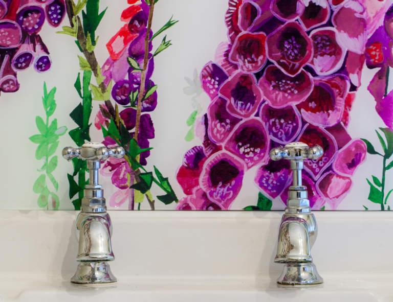 Emma Britton Decorative Glass - Foxglove Glass Splashback - Award Winning Design Brand
