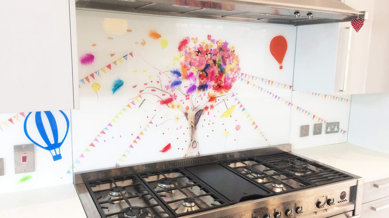 Whimsical Glass Splashback Carshalton Comission, with a tree behind a hob