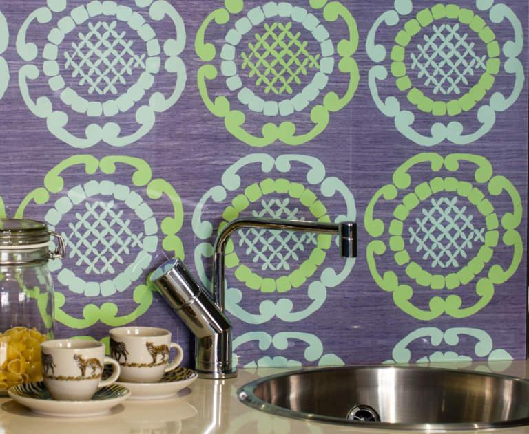 Green Geo in Grey Splashback for Kitchens