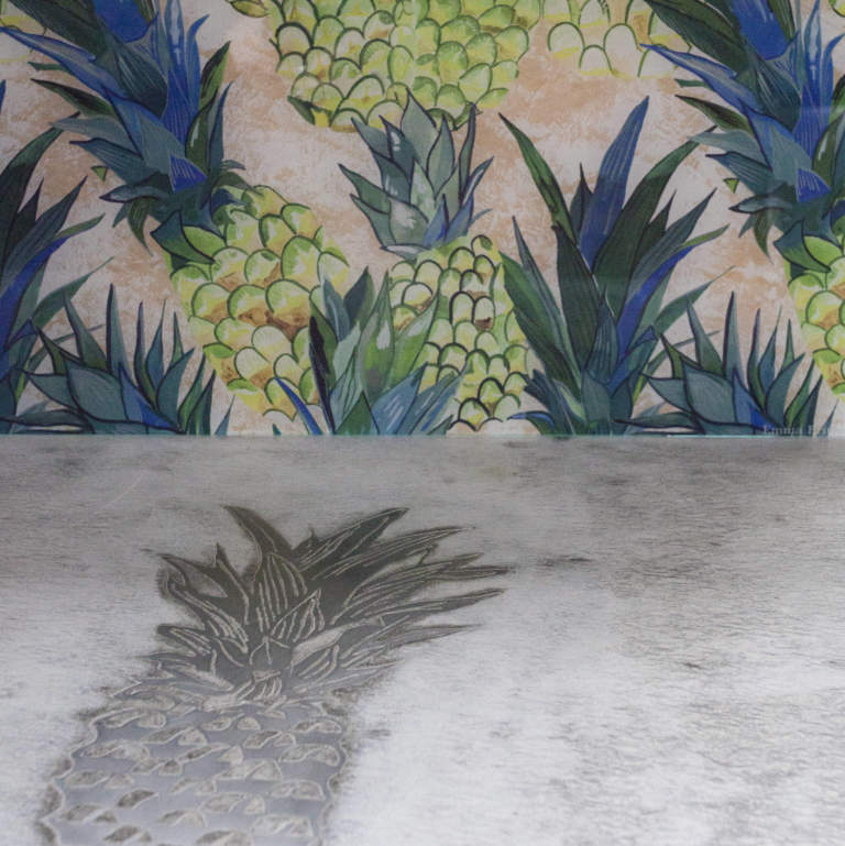 Pineapple concrete metal inlay