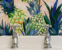 Emma Britton Pineapple design vanity splashback