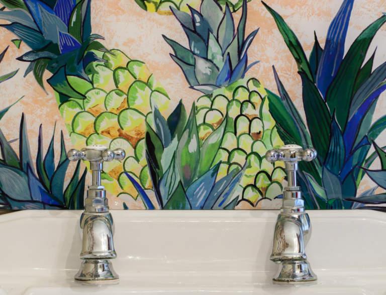 Emma Britton Pineapple design vanity splashback