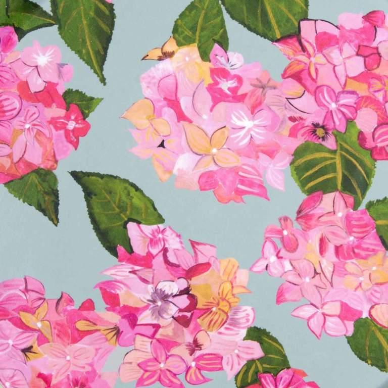 Pink Hydrangea Splashback Sample