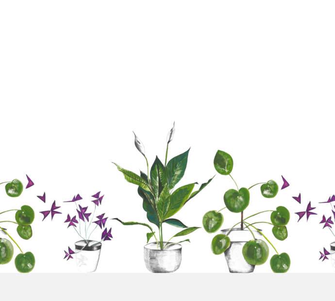 Emma Britton Splashback Plant Life White