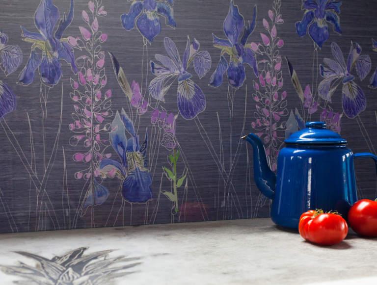 Watercolour in grey kitchen splashback