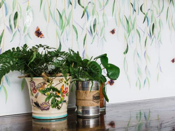 Emma Britton Glasshouse Collection Willow splashback in a kitchen with plants