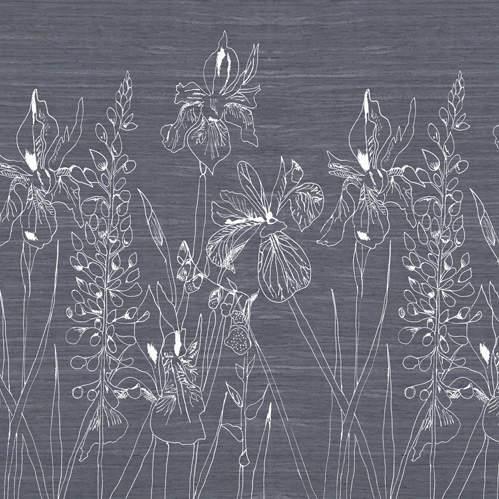 White Floral in Grey Splashback Sample