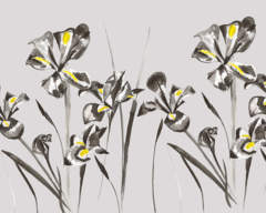 Iris in Stone Glass Splashback with pops of yellow
