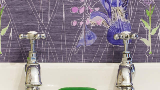 Watercolour in Grey, Maple Collection Glass Splashback