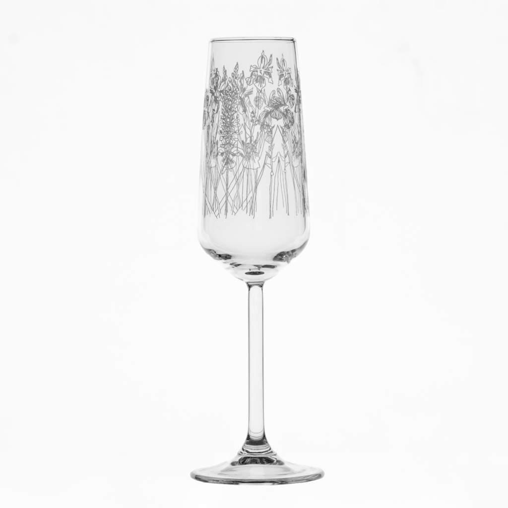 Emma Britton Floral Champagne Flute hire