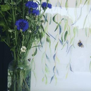 Emma Britton Decorative Glass Designer Willow & Red Admiral Splashback Design